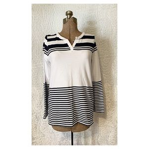Talbots NWOT, White and Black Sweater
